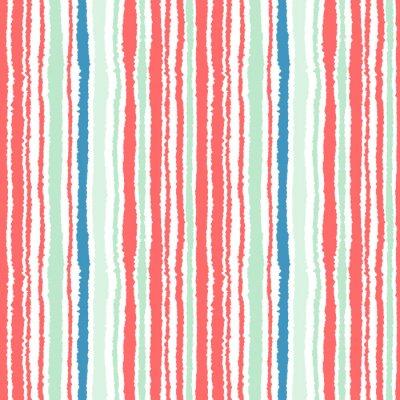 Fototapeta Jednolite pasy wzoru. Pionowe linie z rozdartym efekt papieru. Strzępić tła krawędzi. Zimne, miękkie, zielony, niebieski, czerwony, biały kolor. Temat zimy. Wektor