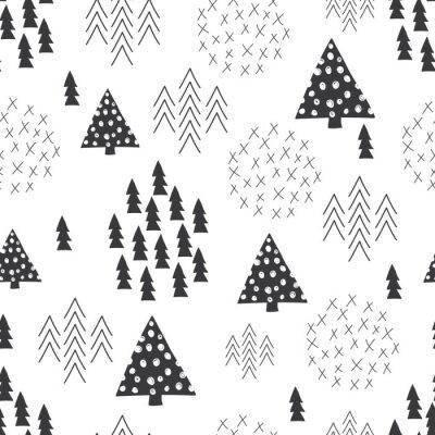 Fototapeta Jednolite stylu skandynawskim prosta ilustracja choinki w tle