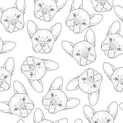 Fototapeta Jednolite tło z cute Buldog szkicu. Realistyczne ręcznie psa. Farbowanie monochromatycznych z buldoga. Broszura do drukowania na tkaninach. Rasa psów. Jednolite tło z psem na materiałach drukowanych