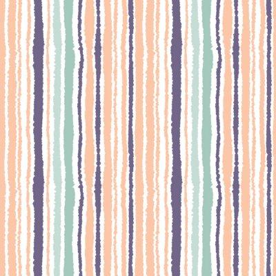 Fototapeta Jednolite wzór w paski. Pionowe wąskie linie. Torn papier, strzępić krawędzi tekstur. Pomarańczowy, niebieski, białe światło miękkie kolorowe tło. Wektor