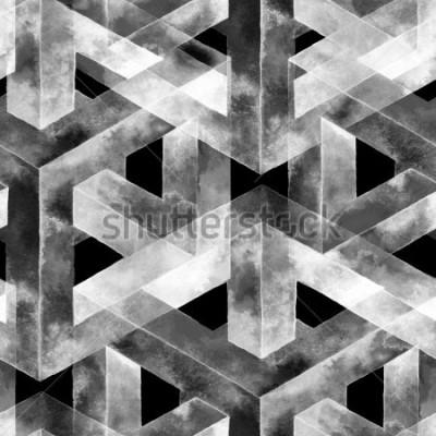 Fototapeta Jednolite wzór wykonany z złudzenie optyczne. Akwarela niezwykła tekstura. Ręcznie rysowane ilustracji do tapety, tła i transparentu.