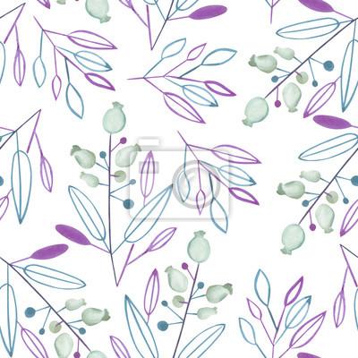 23a89ada704d5b Fototapeta Jednolite wzór z abstrakcyjnej akwareli niebieskie i fioletowe  liści i gałęzi i jagody na białym