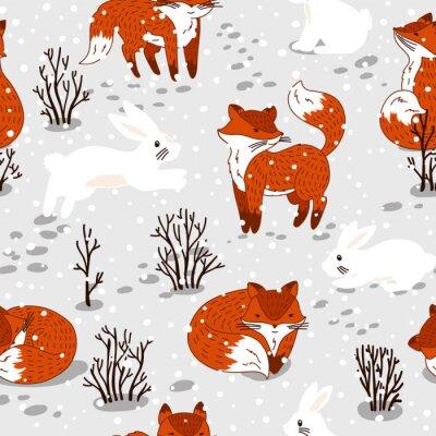 Fototapeta Jednolite wzór z cute lisów i królika. Zima ilustracji