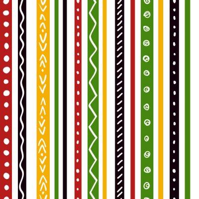 Fototapeta Jednolite wzór z etnicznych zielony, żółty, czerwony kolor paski. Powtórz proste paski tekstury tła, wektor.