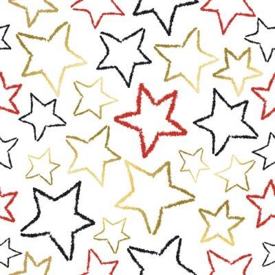 Fototapeta Jednolite wzór z Gold Star Doodles na Boże Narodzenie