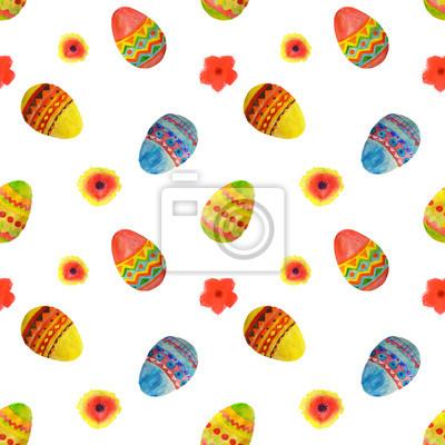 89ced5fd7be99e Fototapeta Jednolite wzór z kolorowych akwareli Pisanki i kwiaty na białym  tle