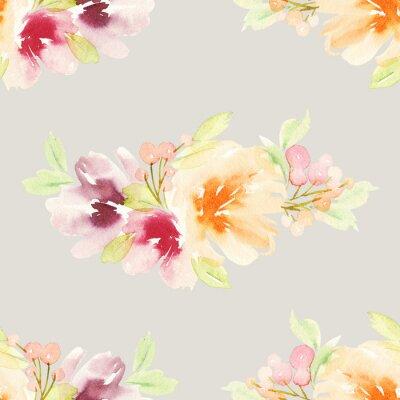 Fototapeta Jednolite wzór z kwiatów akwarelą. Delikatne kolory.