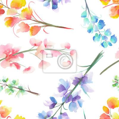 a20cdfdb97dad1 Fototapeta Jednolite wzór z odizolowanych akwarela wielokolorowe Delphinium  (Larkspur) kwiat, ręcznie rysowane na