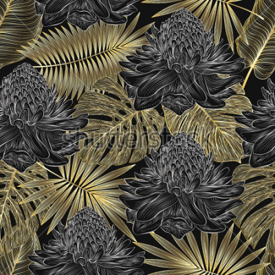 Fototapeta Jednolite wzór z palmami tropikalnymi i kwiatami imbir. Ilustracji wektorowych.
