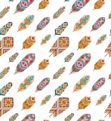 Fototapeta Jednolite wzór z piór etnicznych