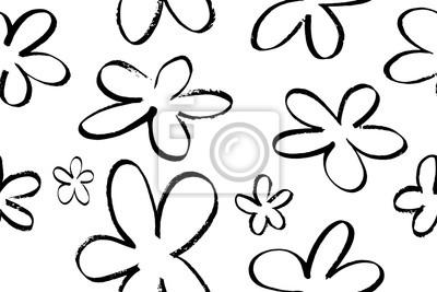 0406dd66cc35c1 Fototapeta Jednolite wzór z ręcznie narysować abstrakcyjne kwiaty. Czarne  kwiaty na białym tle, wektor