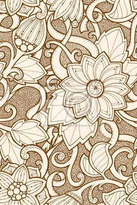 673ab80243a809 Fototapeta Jednolite wzór z stylizowane kwiaty. Ozdobny zentangle szwu  tekstury, wzór z abstrakcyjne kwiaty