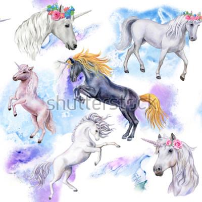 Fototapeta Jednorożce. Wzór z końmi. Ilustracja zwierząt. Akwarela. Szablon. Praca
