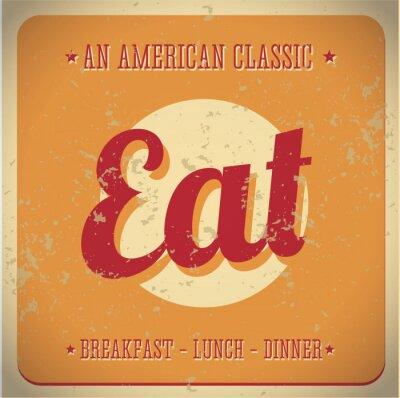 Fototapeta Jedz Vintage znak. All American classic