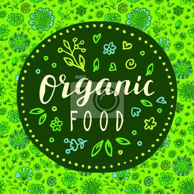 Fototapeta Jedzenie Organiczne Recznie Rysowane Plakat Wegetarianskie