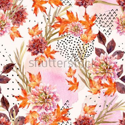 Fototapeta Jesień akwarela kwiatowy wzór. Tło z dalii kwiatami, liśćmi, geometrical kształty wypełniającymi z doodle teksturą. Ręcznie rysowane akwarele ilustracja do projektowania upadku.