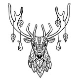 Jeleń Z Jesiennych Liści I Gruszek Tatuaż Etniczne Zwierząt