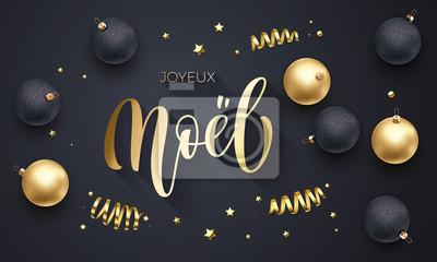 Joyeux Noel Francuski Wesołych świąt Złote Dekoracje Ręcznie