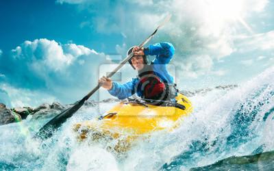 Fototapeta Kajakarstwo wodne, ekstremalne spływy kajakowe