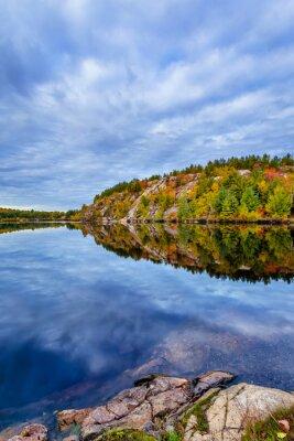 Fototapeta Kanada, październik, Ontario, jesień, niebieski, kabina, chmura, kolor, Cottege, upadek, zielony, wyspa, jezioro, krajobraz, zostawić, charakter, pomarańczowy, czerwony, sezon, drzewo, woda, żółty, ko
