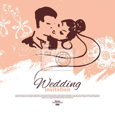 Karta Zaproszenie Na ślub Vintage Ilustracja Rysunek Fototapeta