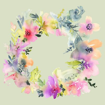 Fototapeta Kartkę z życzeniami z kwiatami. Pastelowych kolorach. Wykonany ręcznie. akwarela. Ślub, urodziny, Dzień Matki. Dla przyszłej panny młodej.