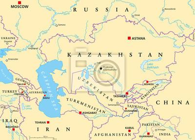 Kaukaz I Azja Srodkowa Mapa Polityczna Z Krajami Ich Stolic