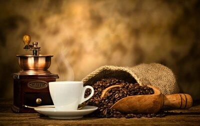 Fototapeta Kawa espresso ze starego młynka do kawy