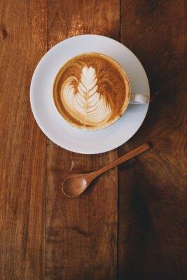 Fototapeta kawa latte w kawiarni rocznika koloru