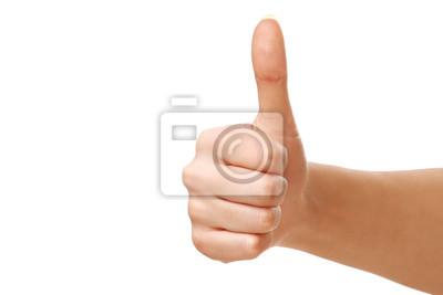 Fototapeta Kciuk w górę na białym tle