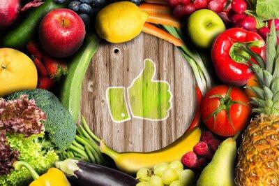 Fototapeta Kciuki dla owoców i warzyw