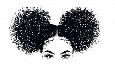 Fototapeta Kędzierzawa piękno dziewczyny ilustracja odizolowywająca na jasnym tle. Podwójne bułki z długimi włosami. Ręcznie narysuj pomysł na wizytówki, szablony, stronę internetową, broszurę, plakaty, pocztówk
