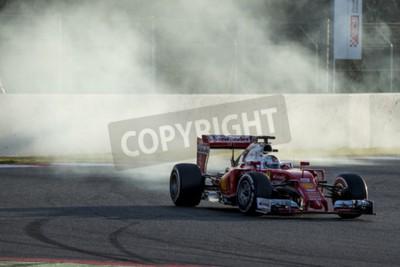 Fototapeta Kierowca Sebastian Vettel. Ferrari. Formula One dni testów na Circuit de Catalunya. Montmelo, Hiszpania. 02 marca 2016