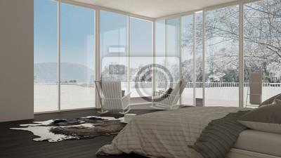 Fototapeta Klasyczna Sypialnia Minimalistyczny Biały Wystrój Wnętrz Duże