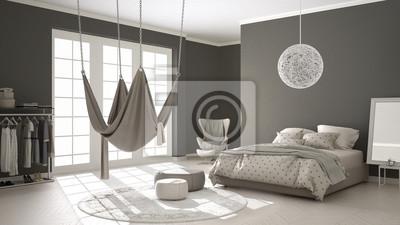 Fototapeta Klasyczna Sypialnia Minimalistyczny Wystrój Wnętrz Z Skandynawskim