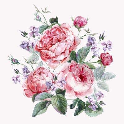 Fototapeta Klasyczne Vintage kwiatowy kartkę z życzeniami, akwarela bukiet