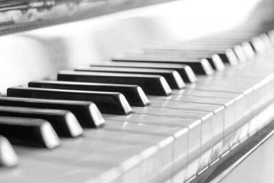 Fototapeta Klawiatura fortepianu. Czarno-biały obraz z selektywnej focus