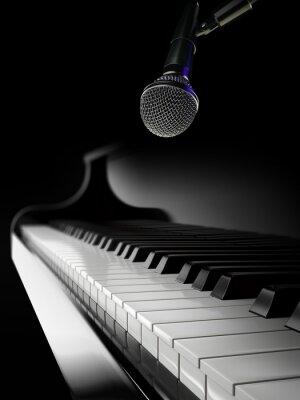 Fototapeta klawisze fortepianu na czarnym fortepianie z mikrofonem