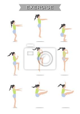 Fototapeta Kobiet wykonujących ustawić na białym tle
