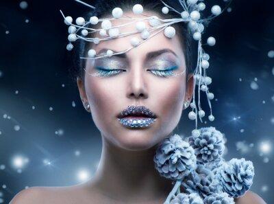 Fototapeta Kobieta Beauty Winter. Boże Narodzenie Dziewczyna Makeup