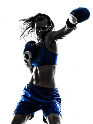 Fototapeta Kobieta bokser kickboxing sylwetka izolowanych