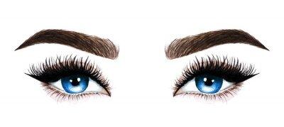 Fototapeta Kobieta oczy długie rzęsy. Ręcznie rysowane akwarela ilustracja. Rzęsy i brwi Projekt przedłużania rzęs, mikrobladingu, tuszu do rzęs, salonu piękności, kosmetyków, wizażystki. Niebieskie oczy.
