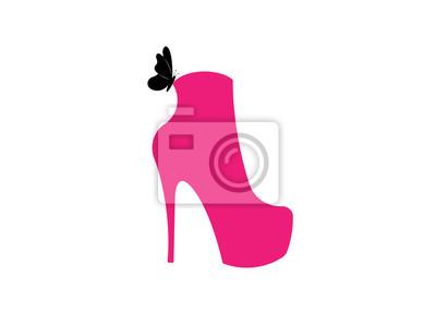 69cbd66e Fototapeta kobieta różowe buty na wysokich obcasach, widok z boku, sklep  obuwniczy Logo,