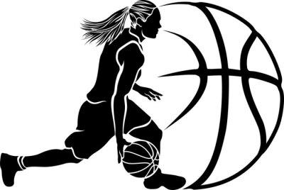 Fototapeta Kobieta Sihouette dryblować koszykówki z piłką