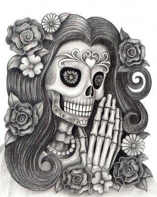 Kobiety Czaszki Sztuki Dzień Zmarłych Ręcznie Rysunek Ołówkiem