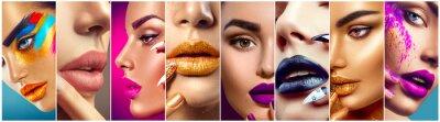 Fototapeta Kolaż makijażu. Piękno makijażu artystów pomysłów. Kolorowe usta, oczy, cienie do powiek i sztuki paznokci