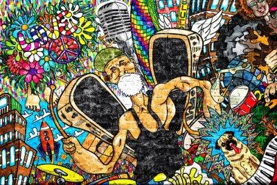 Fototapeta Kolaż muzyczny na dużej ścianie z cegły, graffiti
