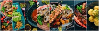 Fototapeta Kolaż potraw. Sałatki, przekąski, dania mięsne i ryby. Na drewnianym tle. Widok z góry.