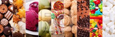 Fototapeta kolaż różnego rodzaju słodyczy produktów