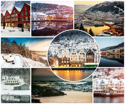 Fototapeta kolaż zima i atrakcje w Bergen